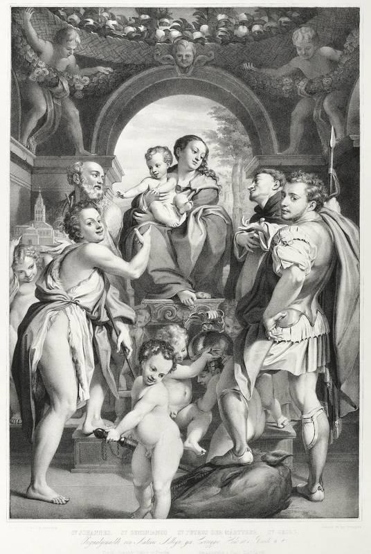 """Correggio. - Die Madonna des heiligen Georg. - Hanfstaengl. - """"St. Johannes. St. Geminianus. ..."""