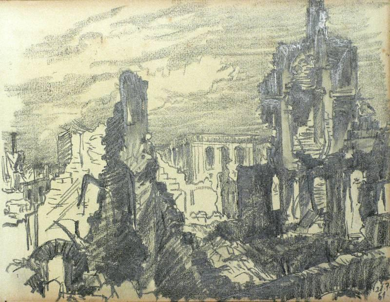 Alfred Pilz. - Trümmer der Frauenkirche in Dresden.