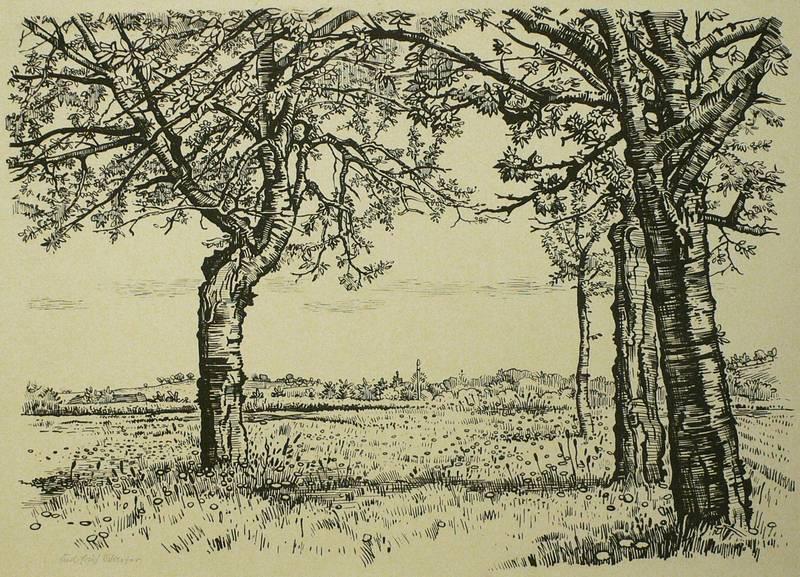 Schäfer, Karl Erich. - Wiesenaue mit Obstbäumen.