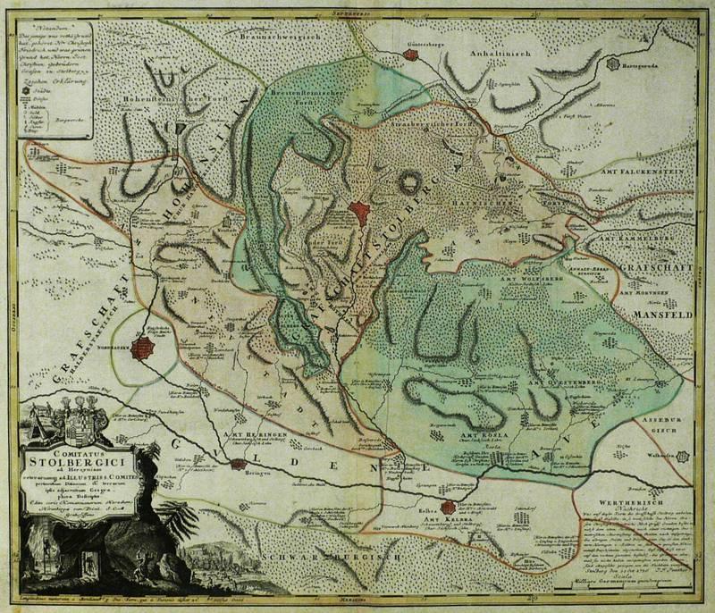 "Sachsen. - Grafschaft Stolberg. - Homann Erben. - ""Comitatus Stolbergici ad Hercyniam ..."