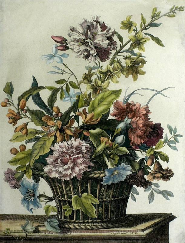 Monnoyer, Jean-Baptiste. - Blumenbukett im Weidenkorb.