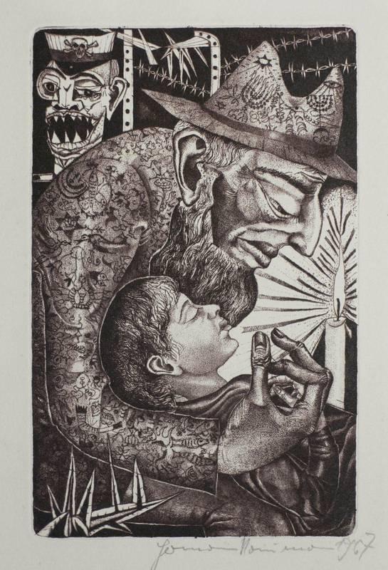 Naumann, Hermann. - Meine jüdischen Augen. - Alter Jude und Junge mit Kerze.: Hermann Naumann