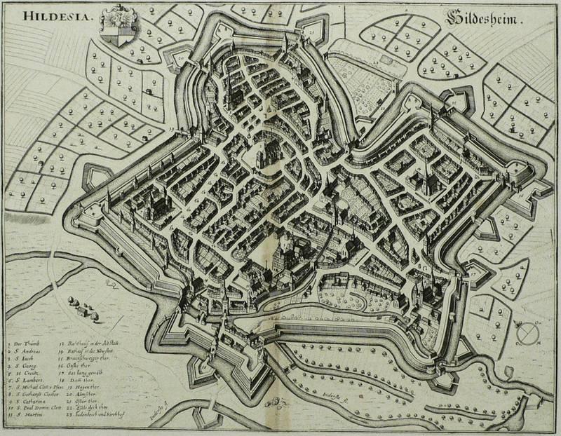 """Hildesheim. - Vogelschau. - Merian. - """"Hildesia. Hildesheim"""".: Matthäus Merian d. Ä."""