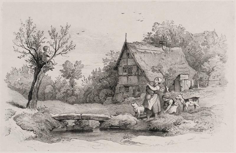 Richter, Adrian Ludwig. - Skizzenbuch. - Junge Mutter mit Kindern, Hund und Ziege am Bach.: Adrian ...