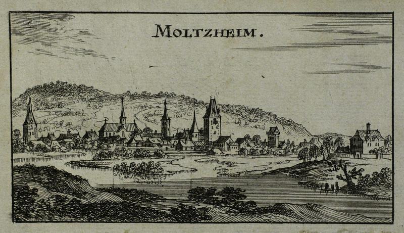 """Molsheim im Elsass. - Gesamtansicht. - Riegel. - """"Moltzheim"""".: Christoph Riegel"""