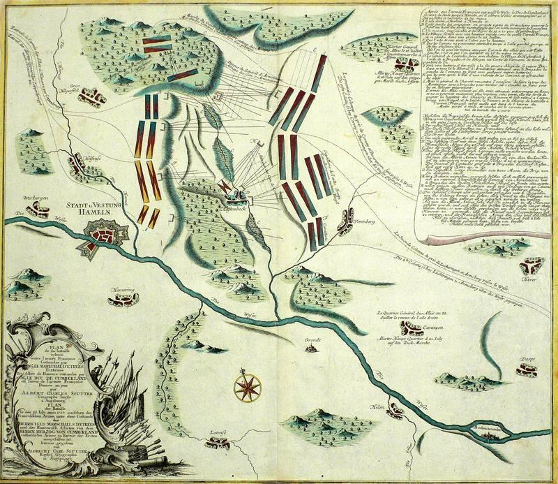 """Hastenbeck (Hameln). - Schlacht bei Hastenbeck. - Seutter . - """"Plan de la Bataille echeue ..."""