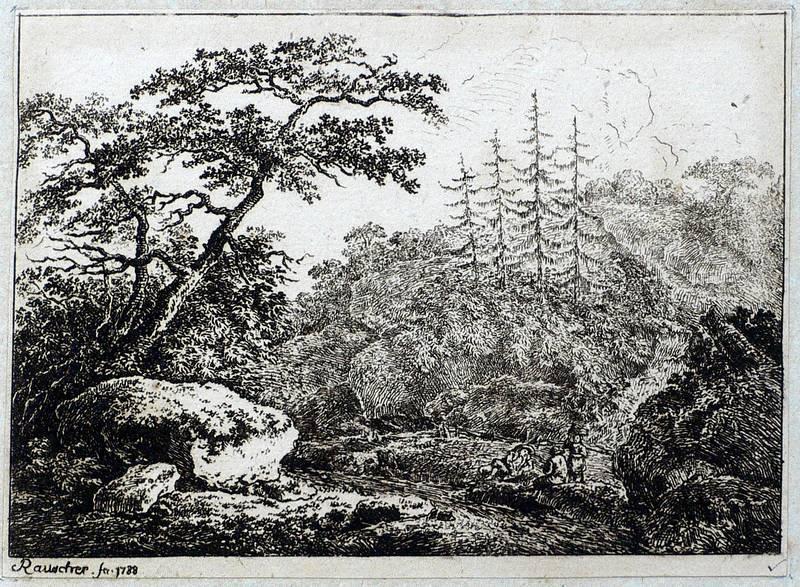 Rauscher, Friedrich. - Waldlandschaft mit Rastenden.