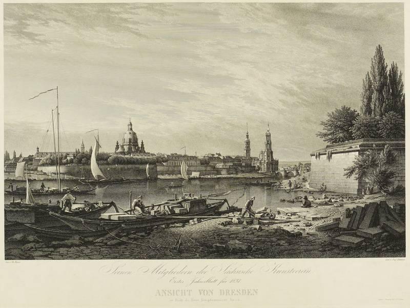 """Dresden. - Gesamtansicht. - Altstadtpanorama. - Hammer. - """"Ansicht von Dresden""""."""