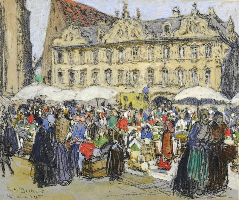 """Beckert, Fritz. - Würzburg. - """"Markttreiben vor dem Falkenhaus""""."""