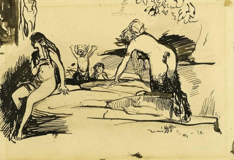 Stuck, Franz von . - Faun und Nymphe.