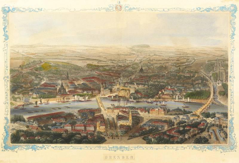 """Dresden. - Gesamtansicht. - Vogelschau. - French. - """"Dresden""""."""