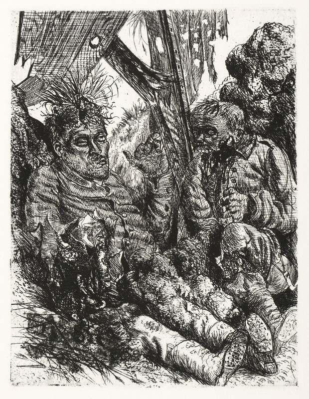 """Dix, Otto. - Krieg. - """"Gesehen am Steilhang von Cléry-sur-Somme""""."""