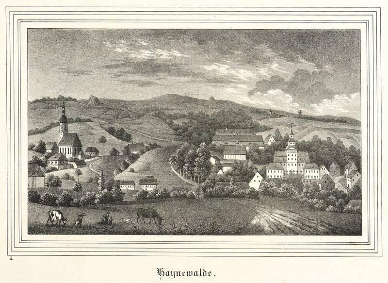 """Hainewalde. - Gesamtansicht mit Schloss und Kirche. - Kirchen-Galerie. - """"Haynewalde""""."""