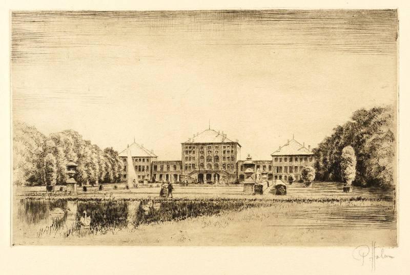 """München. - Schloss Nymphenburg. - Gartenfassade. - Peter Halm. - """"Schloss Nymphenburg&..."""