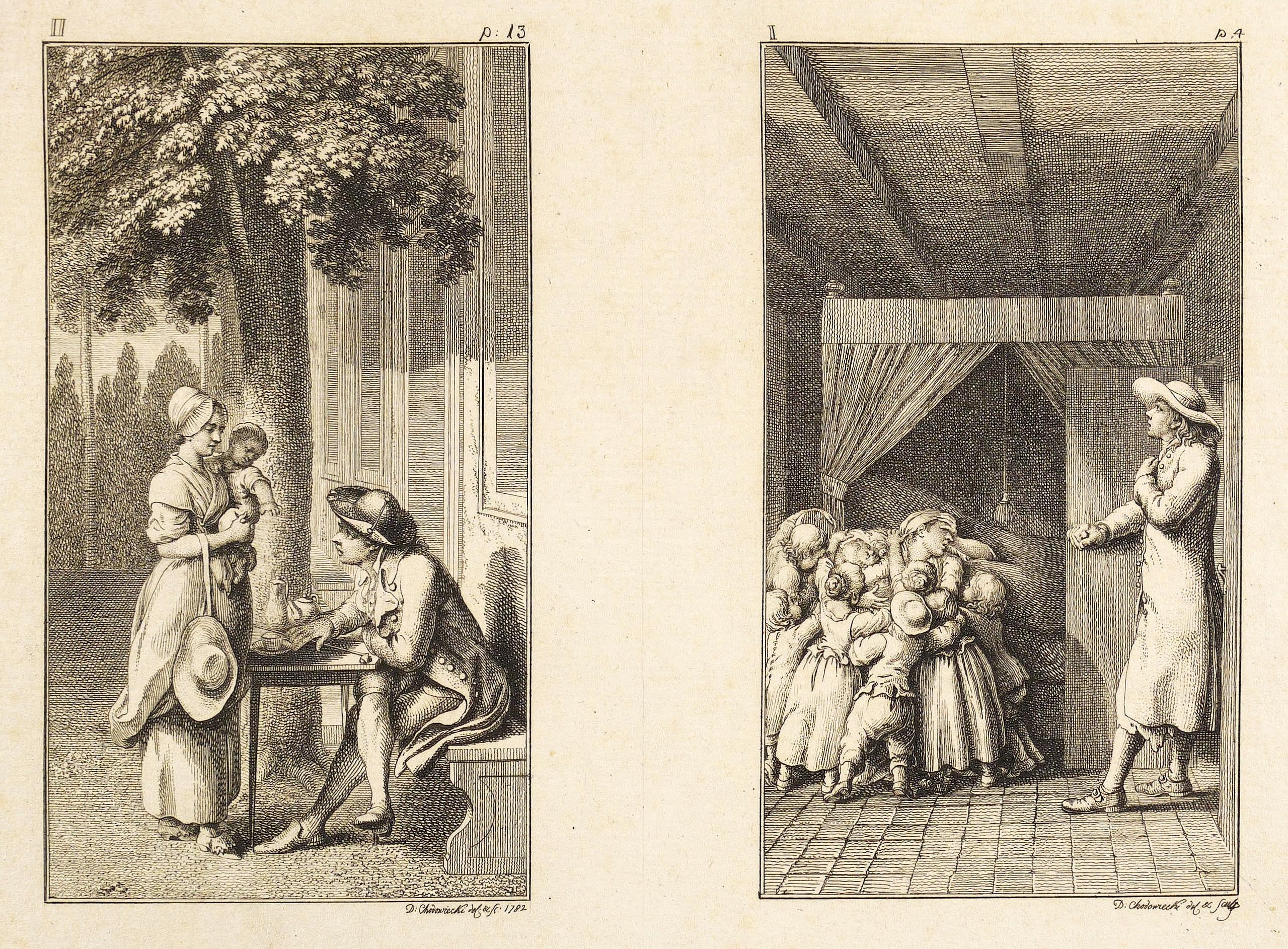 """Chodowiecki, Nikolaus Daniel. - """"12 Blätter zu Pestalozzi's Lienhard und Getrud""""."""