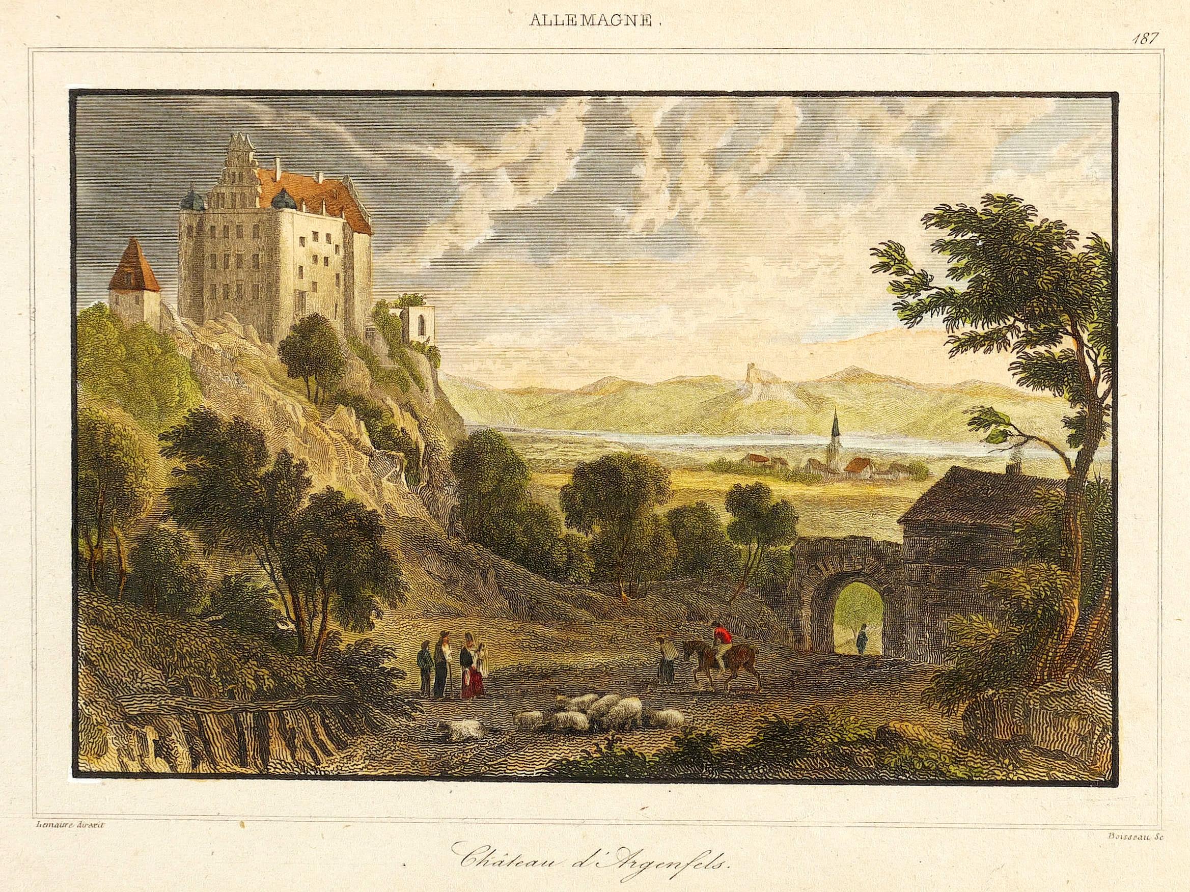 """Bad Hönningen. - Schloss Arenfels. - Lemaitre. - """"""""Chateau d'Argenfels"""""""". Augustin Francois Lemaitre"""