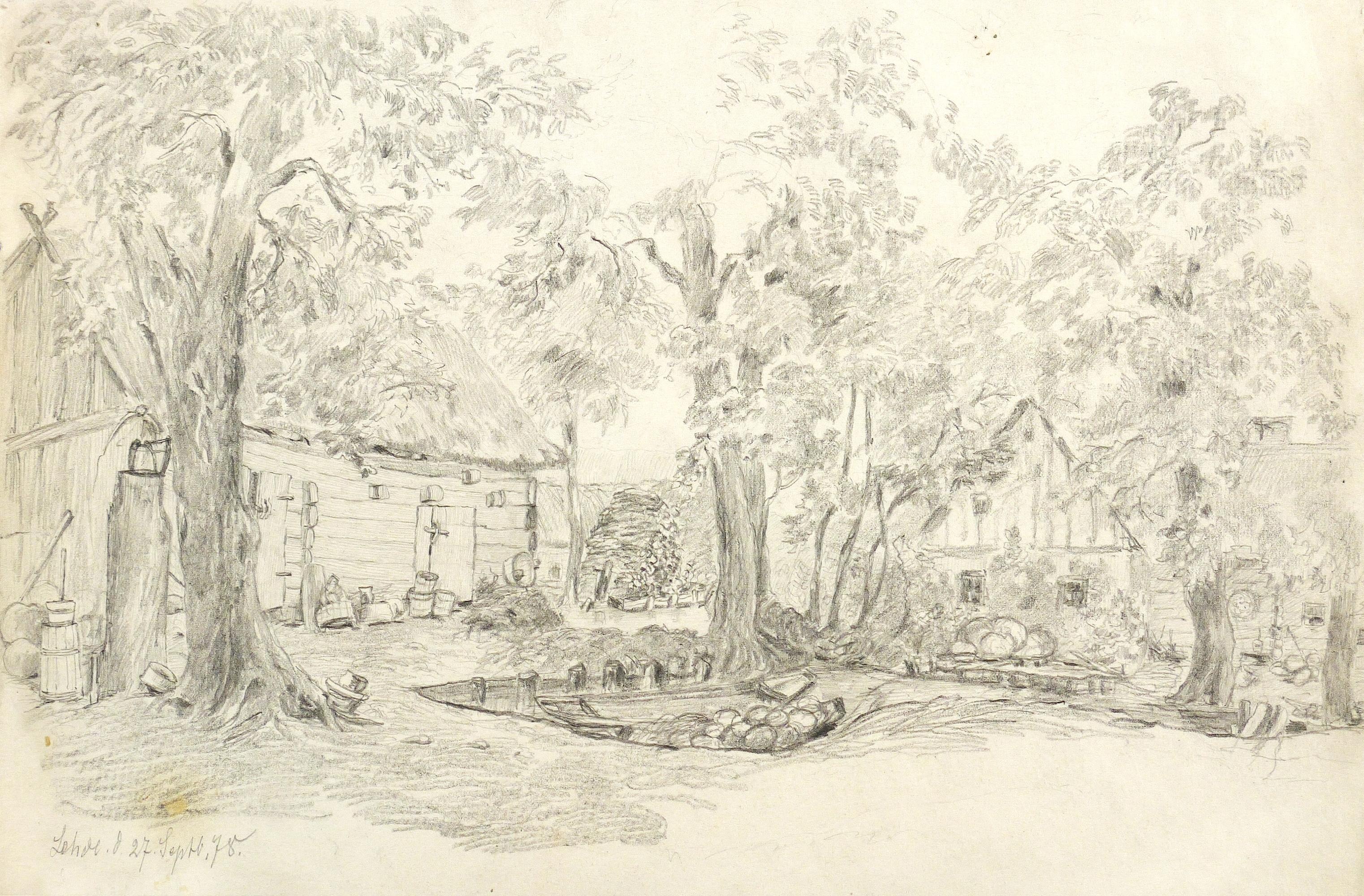 Elbtal In Der Sächsischen Schweiz Federzeichnung 1880 Franz Emil Zeising