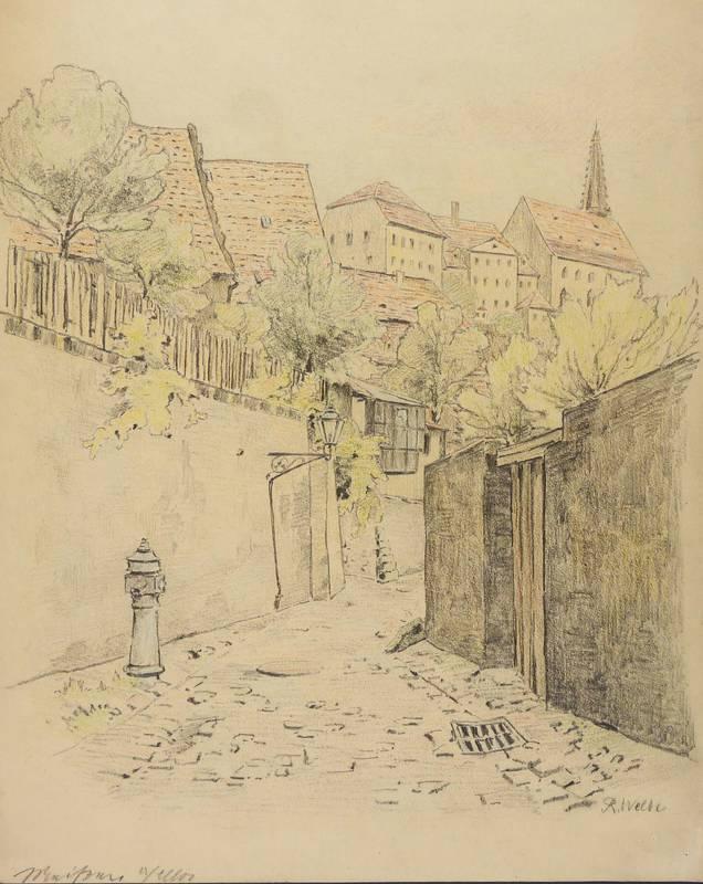 Welte - Altes Bauernhaus Aquarell 1900 BÄrnsdorf radeburg R