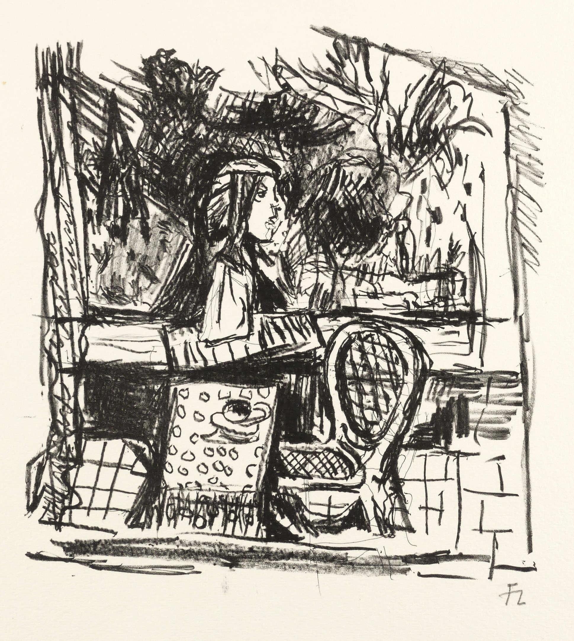 Heuer, Joachim. - Büste auf der Terrasse. Lithografie / Kreidelithografie, in Schwarz, auf hellgelbem Maschinenbütten, 1980-1985. Von Joachim Heuer. 24,5 x 23,5 cm (Darstellung) / 37,5 x 50 cm