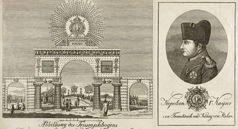 """Napoleon Bonaparte. - Friedensfest in Dresden. - Illumination. - """"""""Abbildung des Triumphbogens in Dresden bei der Gegenwart des Kais. Napoleon den 18t"""
