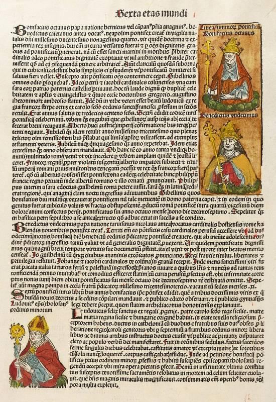 Deutscher Formschneider. - Bildnisse Papst Bonifatius VIII.,: Hartmann Schedel