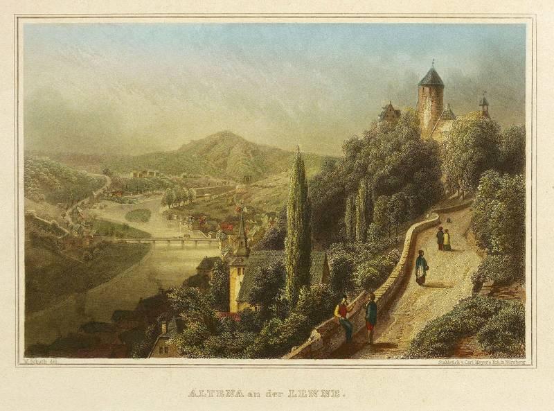 Altena. - Gesamtansicht mit Burg. - Freiligrath.: Ferdinand Freiligrath