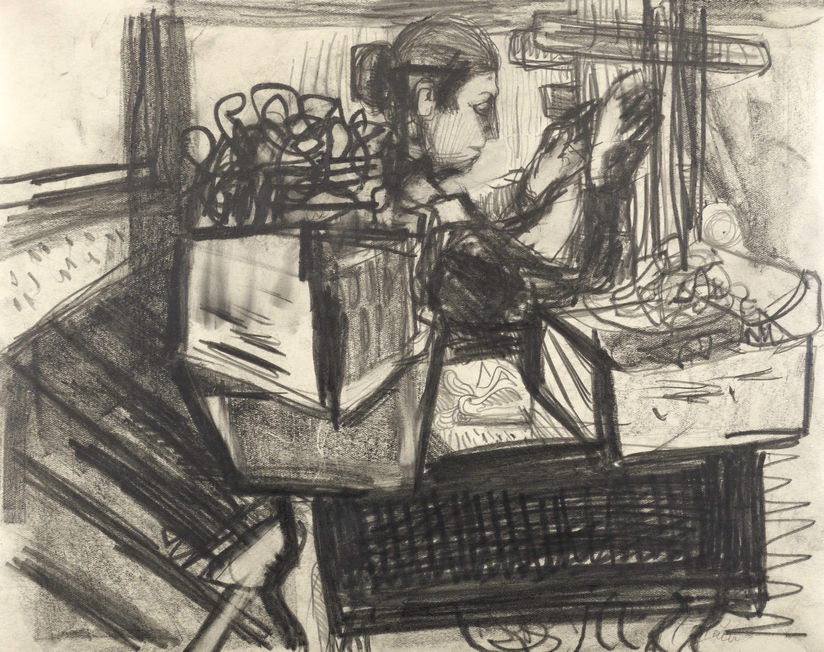Heuer, Joachim. - Frau am Webstuhl. Zeichnung / Graphitzeichnung, auf glattem Fotokarton, 1960-1970. Von Joachim Heuer. 24,0 x 30,0 cm (Darstellung / Blatt). Rechts unten in Bleistift si