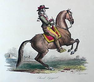 """Pferde. - Spanisches Reitpferd. - Delpech nach Vernet. - """"Cheval Espagnol""""."""