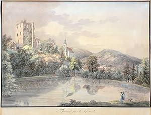 "Tharandt. - Schlossteich mit Burgruine. - Wizani. - ""Tharand près de Dresde""."