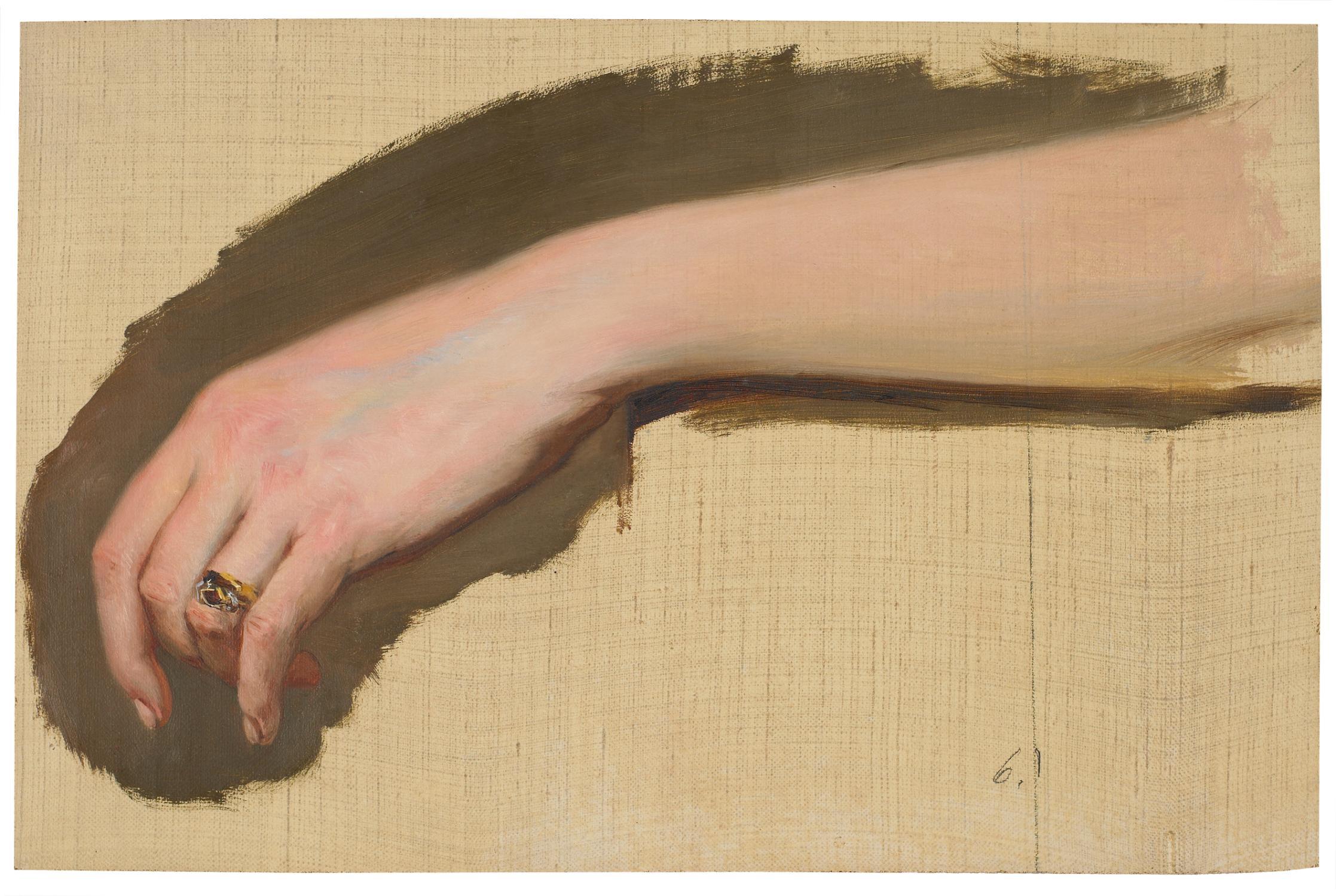 Studie von Unterarm und beringter Hand einer: Wessinger, Robert (1825