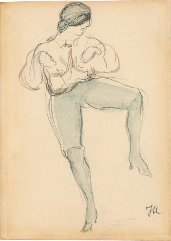 Tänzerin mit erhobenem, nach rechts gespreiztem Bein: Mammen, Jeanne (1890