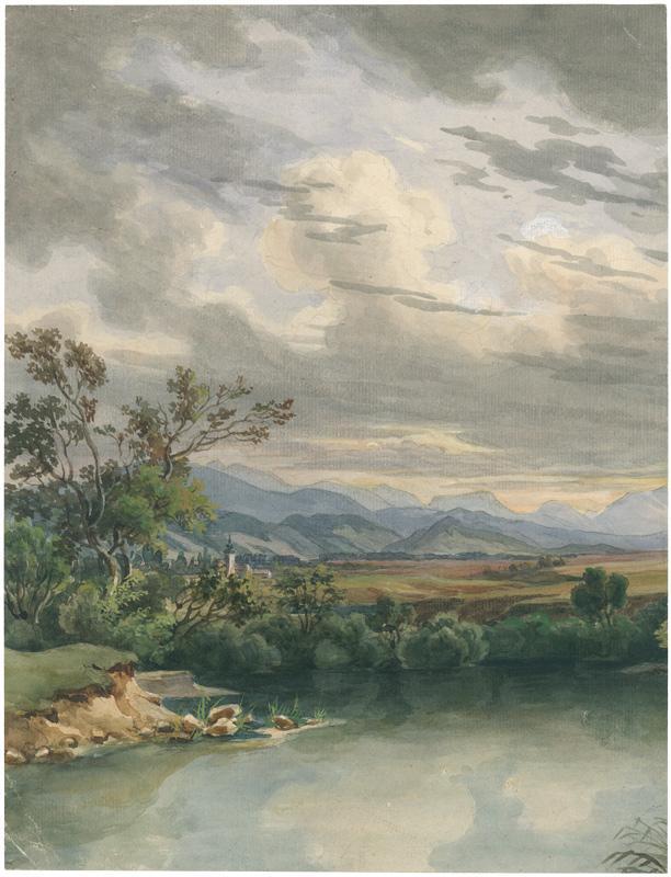 Oberbayerische Landschaft mit Gewässer und einer Ortschaft: Welker, Ernst (1788