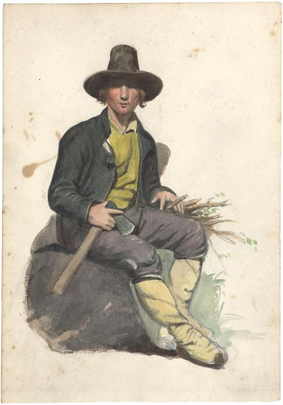 Auf einem Stein sitzender italienischer Arbeiter mit: Wessinger, Robert (1825
