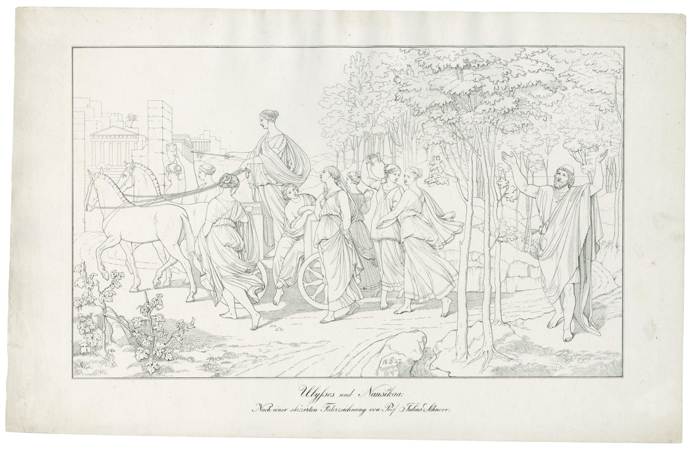 Schnorr Von Carolsfeld, Julius   (1794 Leipzig U0026#150; Dresden 1872) ·  Ulysses Und Nausikaa. Nach Einer Skizzirten Federzeichnung Von Prof. Julius  Schnorr.