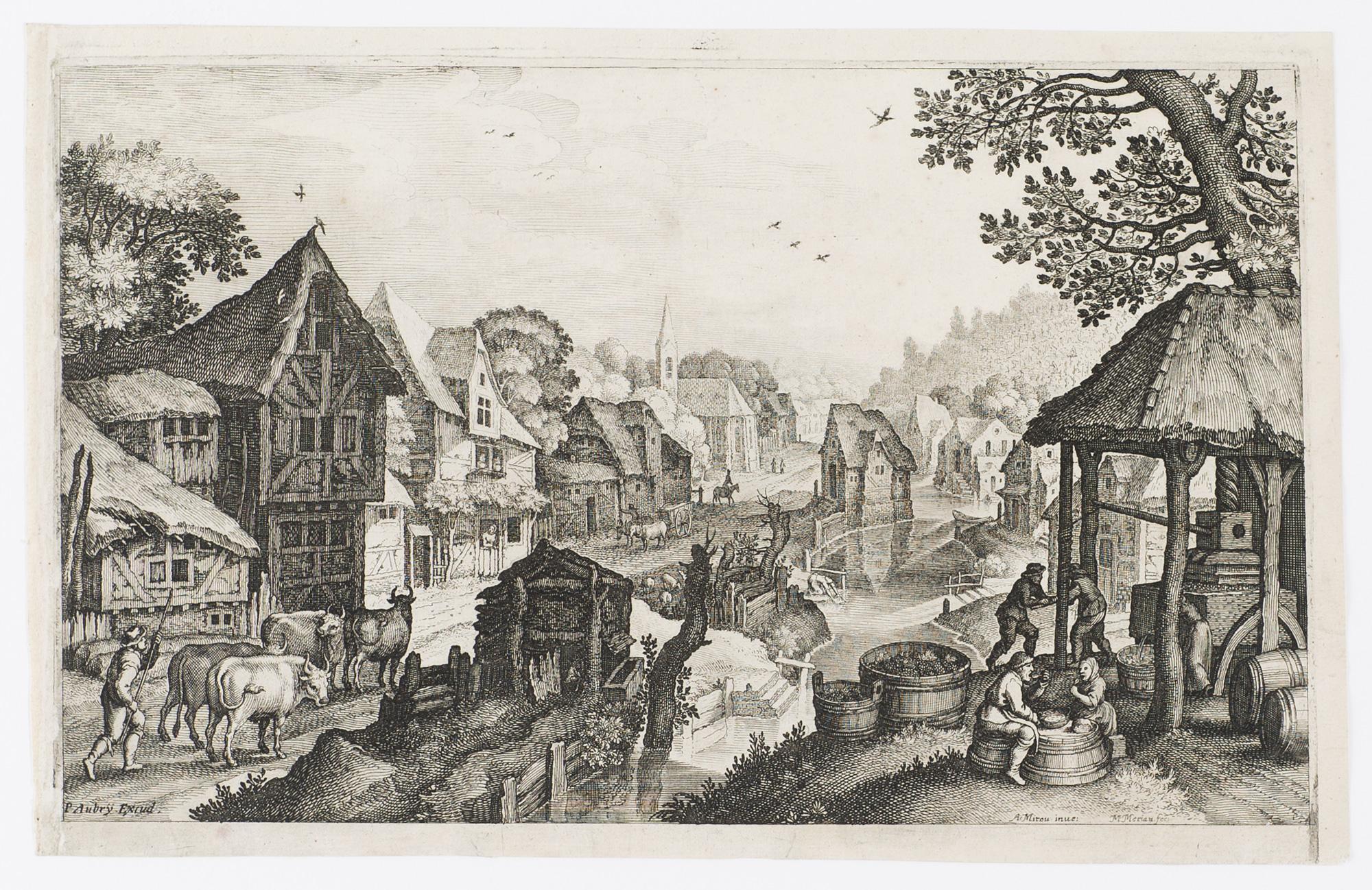 Dorflandschaft mit einer Weinkelter und mit Trauben: Merian d. Ä.,
