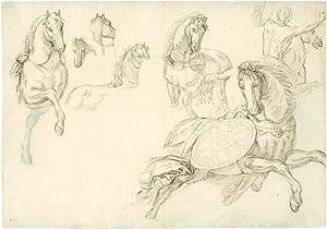 Studienblatt mit Skizzen zu Pferden aus einem: Sabatelli, Luigi d.Ä.