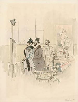 Im Maleratelier: ein Paar betrachtet ein auf der Staffelei stehendes Gemälde, während der...