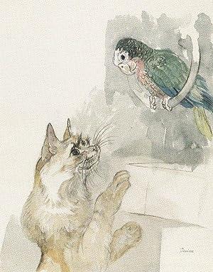 """Katze und Papagei"""".: Jungnickel, Ludwig Heinrich."""