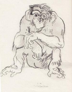 """Sitzender Schimpanse"""".: Jungnickel, Ludwig Heinrich."""
