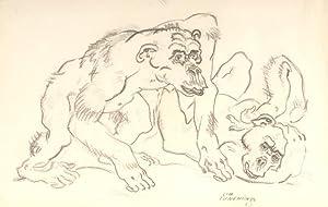 """Zwei Schimpansen"""", 1925.: Jungnickel, Ludwig Heinrich."""