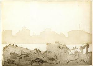"""Sechs Ansichten des Canale della Giudecca"""". (Mit einem Text von Peter Handke, von ihm eigenh. ..."""
