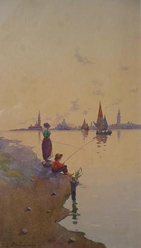 """In der Lagune von Venedig"""", um 1900.: Sormani, Gian Luciano."""