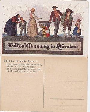 """Volksabstimmung in Kärnten"""".: Postkarte. -"""