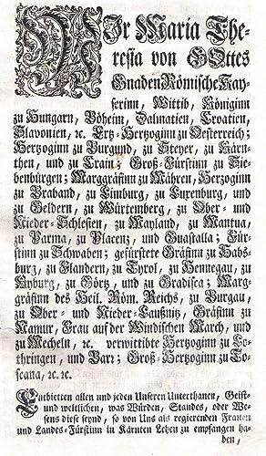 Consignation deren im Herzogthum Kärnten befindlichen Landes-Fürstlichen Lehen.