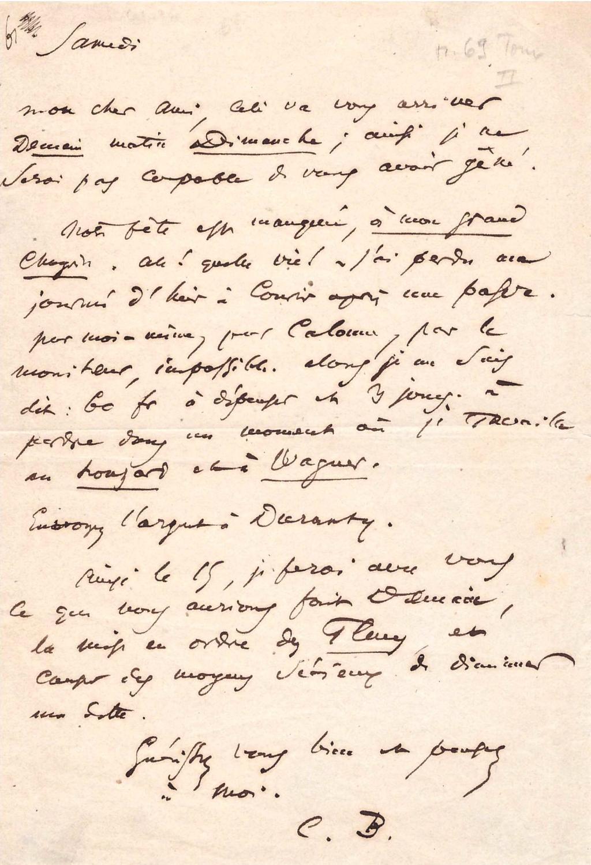 Lettre autographe signée (1860) / À Poulet-Malassis / Au sujet des Fleurs du Mal: CHARLES ...
