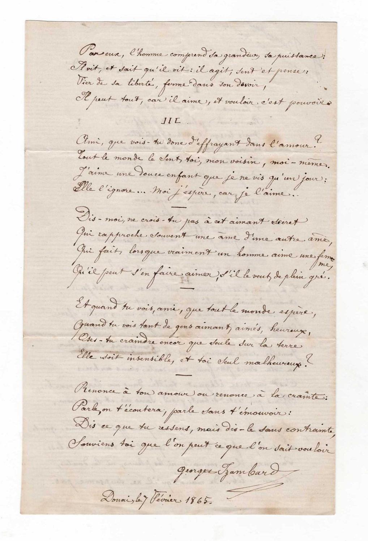 Manuscrit Autographe Signé 1865 Dun Long