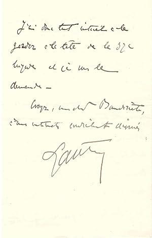 Lettre autographe du Maréchal Lyautey (1912): Hubert Lyautey