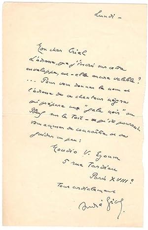 Lettre autographe signée (à Gaston Criel) /: André Gide