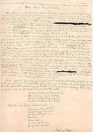 Manuscrit autographe signé / « Prologo Poesia: Jorge-Luis Borges