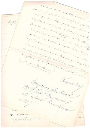 Lettre signée avec 5 lignes autographes (novembre 1851) / Coup d'État: Alphonse de Lamartine